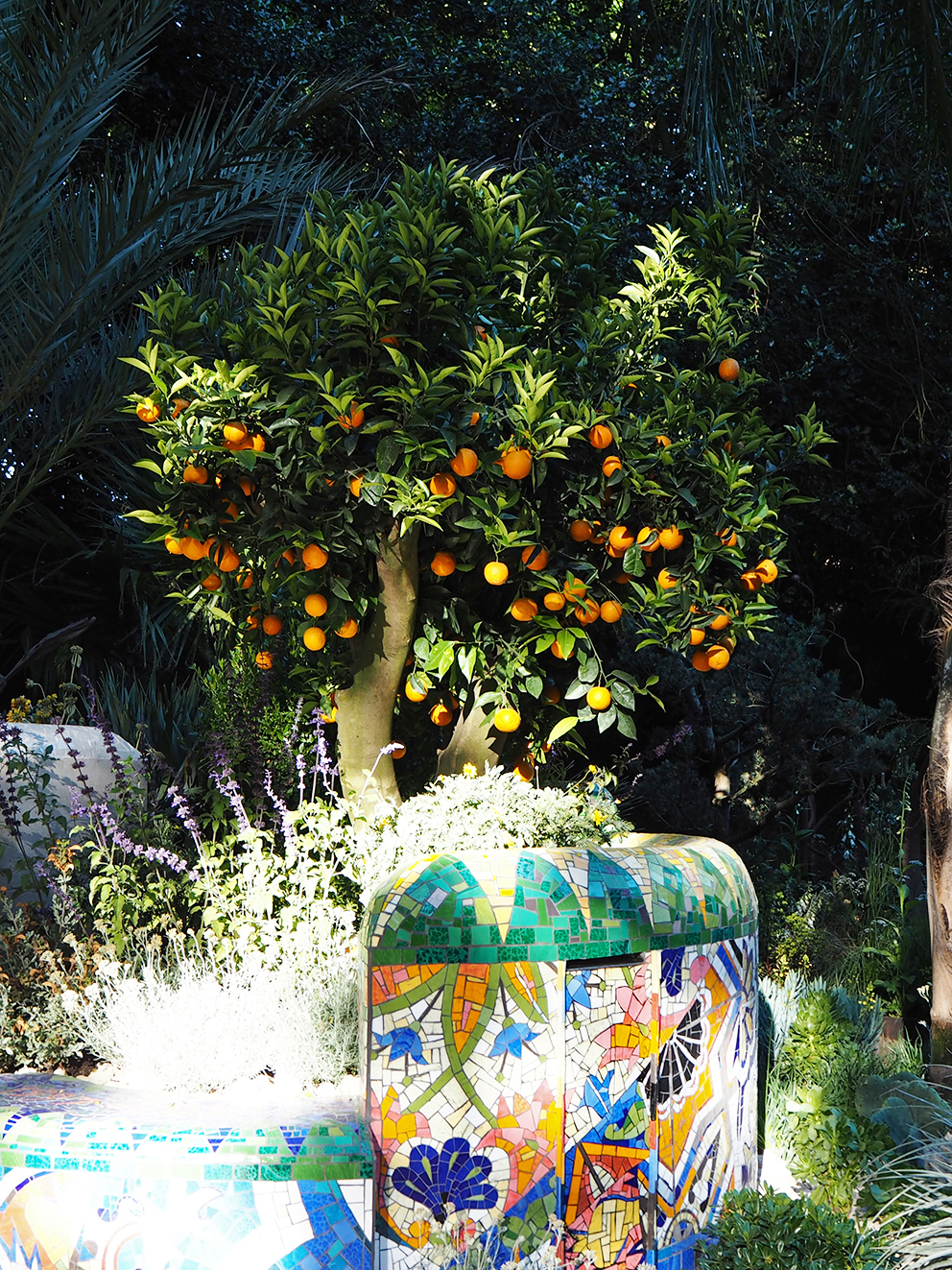 French For Pineapple Blog - RHS Chelsea Flower Show 2017 - Sculptural Orange Tree and Mosaic Wall