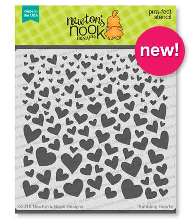 Tumbling Hearts Stencil by Newton's Nook Designs #newtonsnook