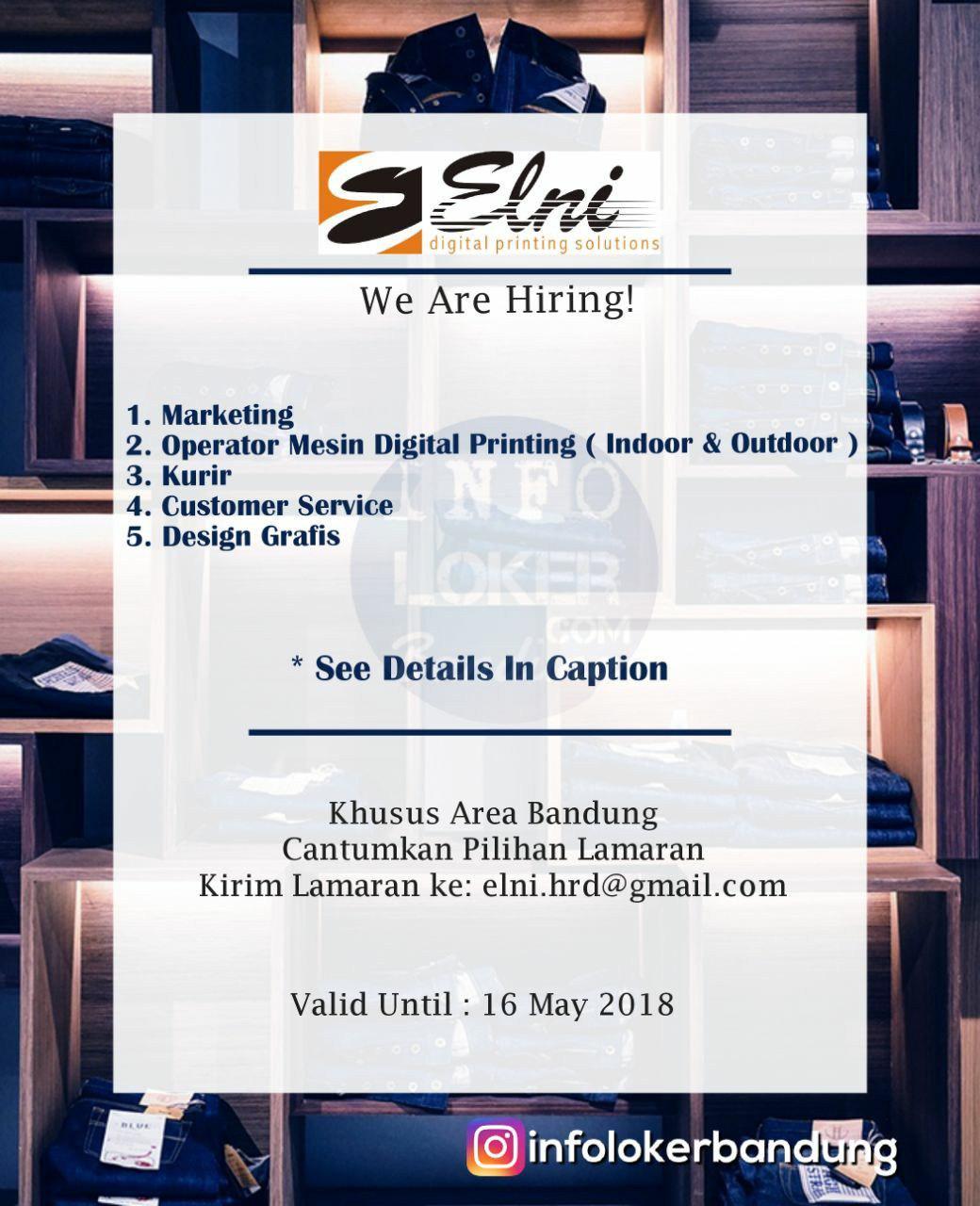 Lowongan Kerja PT. Elni Digital Printing Solution Bandung Mei 2018
