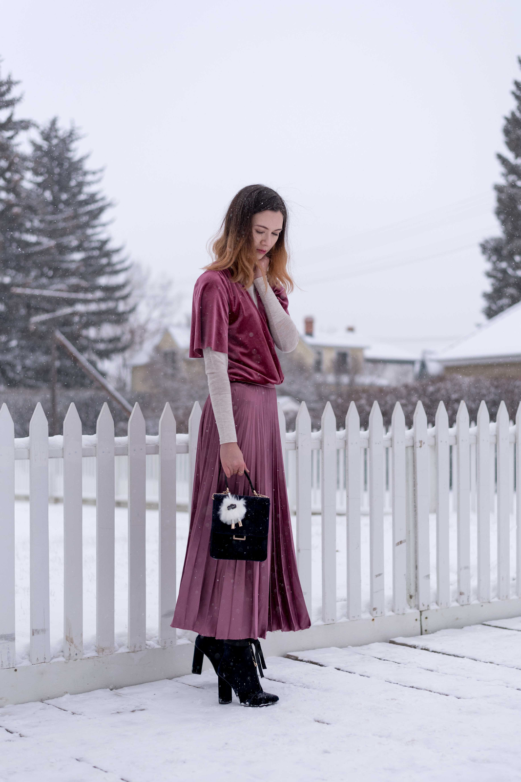 winter fashion, layering, grandma style, calgary fashion, vancouver fashion, velvet, pleated skirt, midi skirt, velvet booties