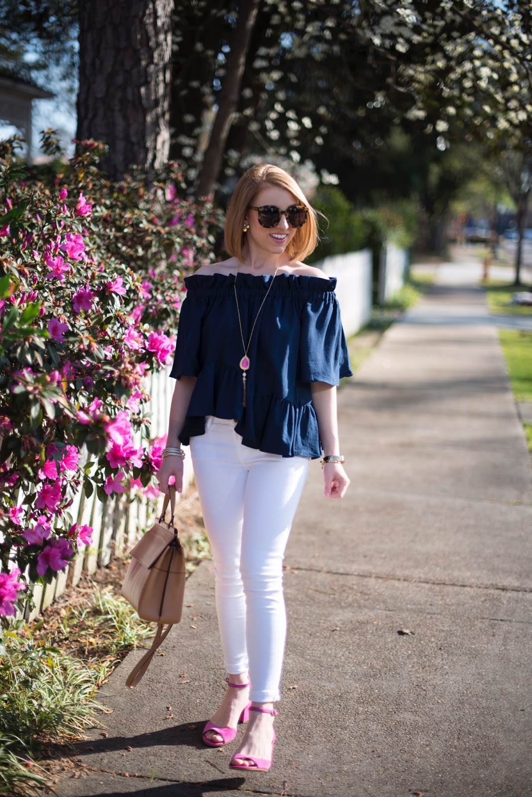 Navy, white and pink - Click through to see more on Something Delightful Blog!