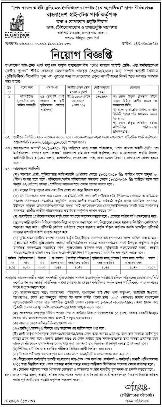 Bangladesh Hi-Tech Park Authority (BHTPA) Job Circular 2018