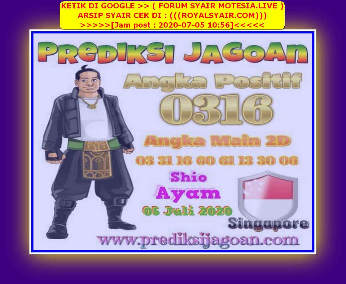 Kode syair Singapore Minggu 5 Juli 2020 122