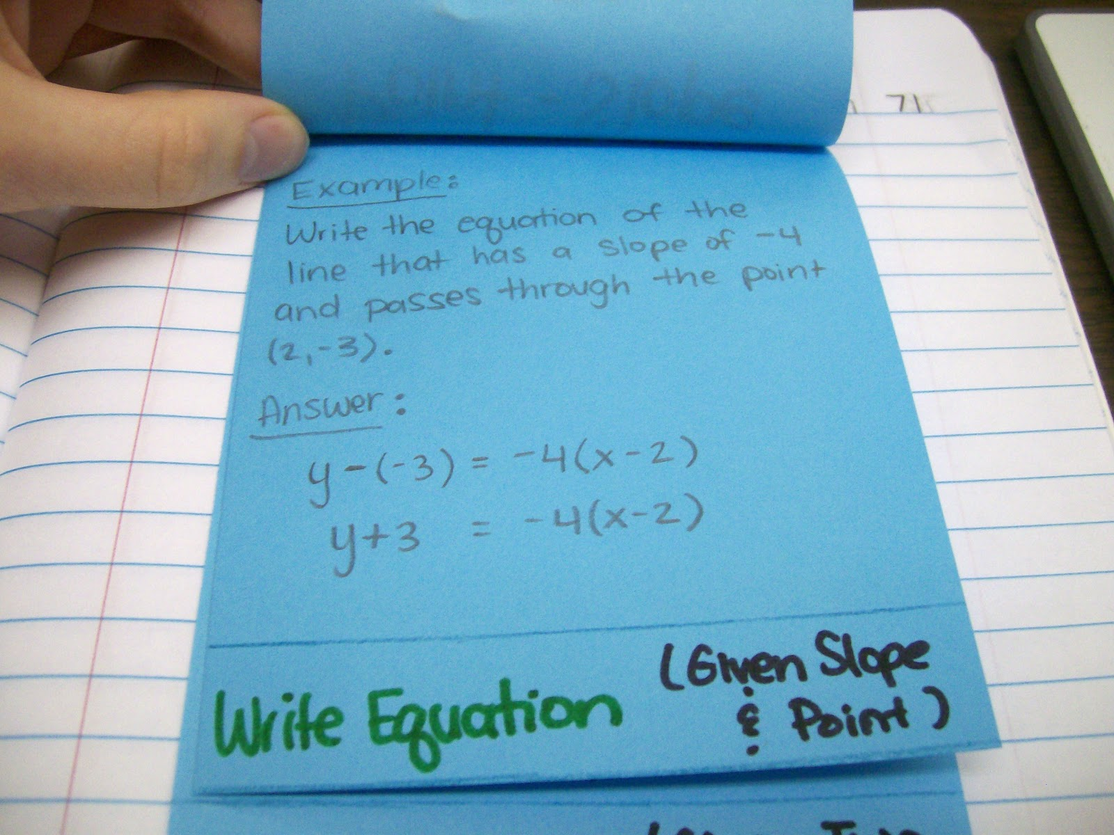 Math Love Point Slope Form Foldable