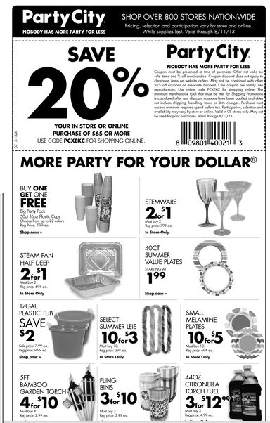 Josie's Smitty Deals: Party City 20% coupon till 8/11