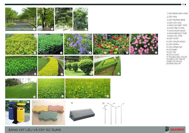 Bảng vật liệu và các loại cây sử dụng trồng trong khuôn viên tại The Green Daisy