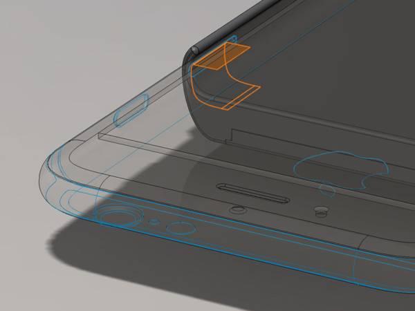 Una maqueta de Edward Snowden y la modificación del iPhone de Bunnie Huang, que muestra la ranura de la tarjeta SIM a través del cual el hardware add-on accede a las antenas del teléfono para supervisar las señales errantes.