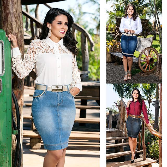 Saia jeans média