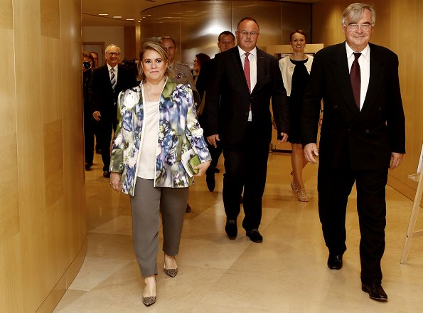 "Maria Teresa attended the 40th ""Midi de la Microfinance"" conference held by ADA Microfinance in Luxembourg. Maria Terase wore Elie Saab jacket"