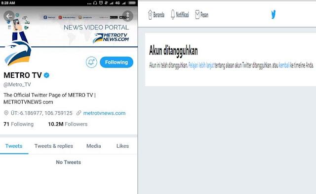 Heboh, Akun Metro TV Disuspend Pihak Twitter, Netizen: Efek Kebanyakan Share Berita HOAX