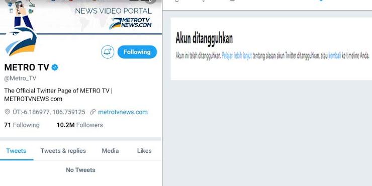 Heboh, Akun Metro TV Diblokir Pihak Twitter, Netizen: Efek Kebanyakan Share Berita HOAX
