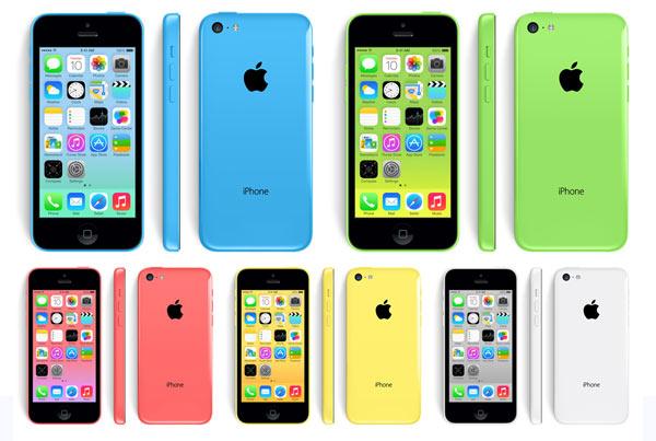 iPhone 5C disponível em 5 cores: Branca, azul, verde, rosa e amarela.