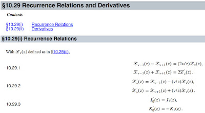 Recurrence Relations involving Modified Bessel Functions, from the Digital Library of Mathematical Functions.