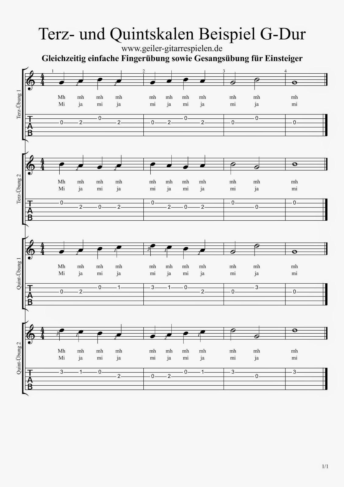 Fingerübung und Gesangsübung in G-Dur