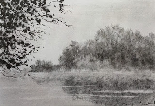 A charcoal drawing of a foggy landscape on cartridge paper. By Manju Panchal