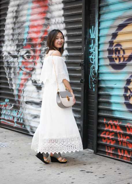 Off the Shoulder Maxi Dress & Chloe Bag