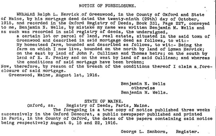 Court foreclosure order from Ralph Herrick to Benny Wells