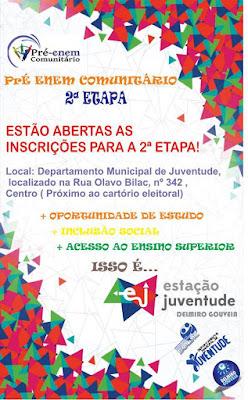 Delmiro Gouveia: Prorrogadas até 3 de Julho, as inscrições para o Pré-Enem Comunitário.