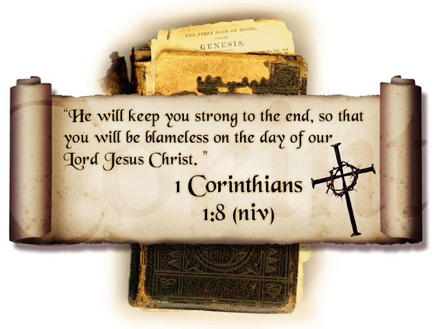 1 Corinthians 1 : 8 Bible Verse Wallpaper