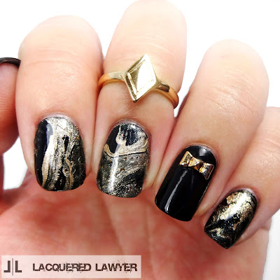 Midnight Marble Nail Art