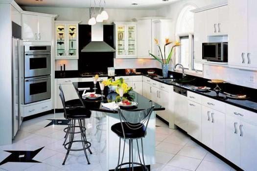 تصميم المنزل الحديث المطبخ أبيض وأسود