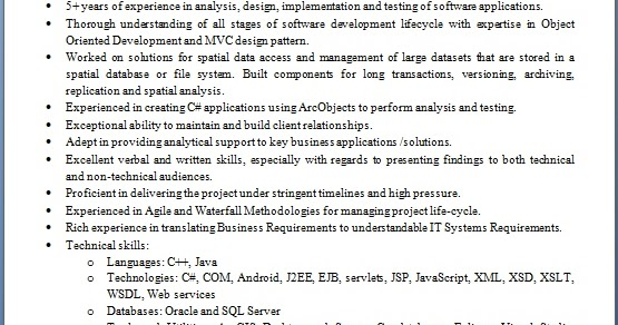 software development programmer sample resume format in