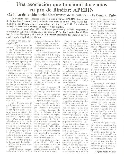 APEBIN: 12 años de Asociación de Peñas Binefarenses