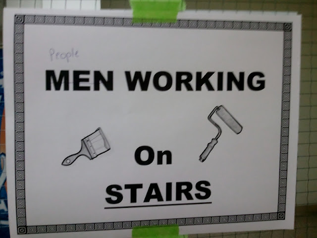 "Photo of a sign that reads ""Men working on stairs"" where someone has crossed out ""men"" and written ""People"""