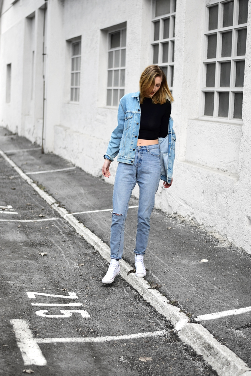 double denim outfit, white converse, cheap monday donna jeans, vintage levis jeans jacket