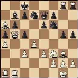 Partida de ajedrez Ribera - Alberola (1930), posición después de 17.Db5