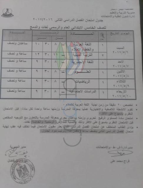 جدول امتحانات الصف الخامس الابتدائي 2017 الترم الثاني محافظة البحر الاحمر