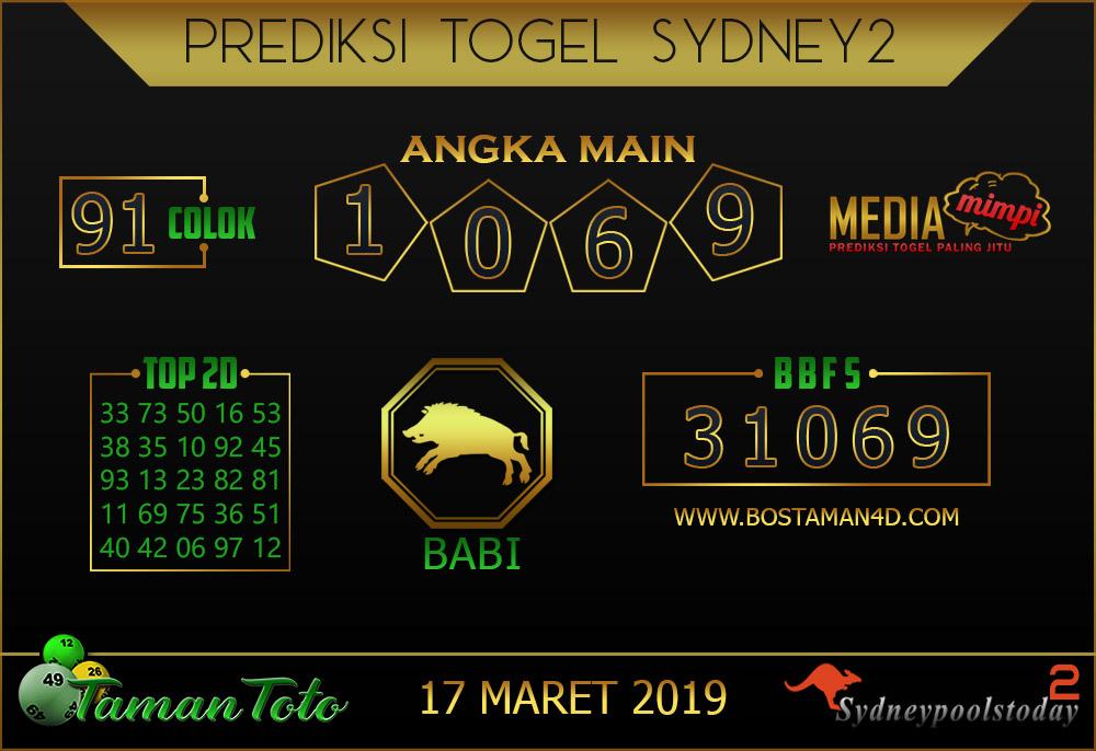 Prediksi Togel SYDNEY 2 TAMAN TOTO 17 MARET 2019