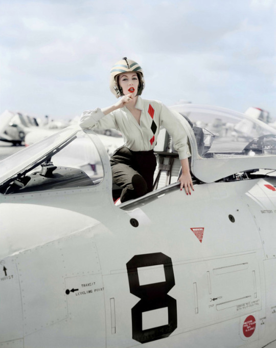 Dovima, Fifties supermodel, poses as a jet pilot in a photo by William Helburn, Westhampton, New York, 1955