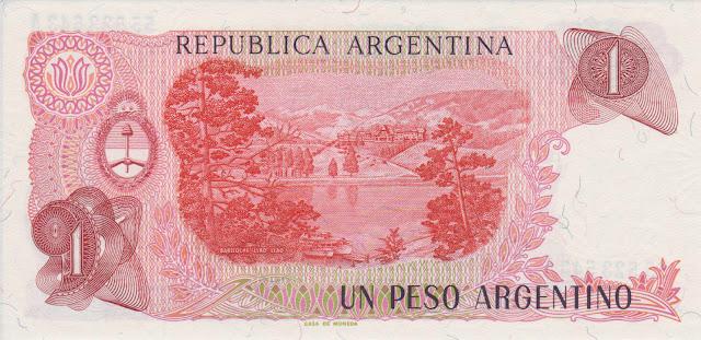 Argentina money currency 1 Peso Argentino banknote 1985 Llao Llao Hotel, tourist resort of San Carlos de Bariloche
