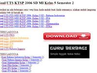 Soal UTS KTSP 2006 SD MI Kelas 5 Semester 2