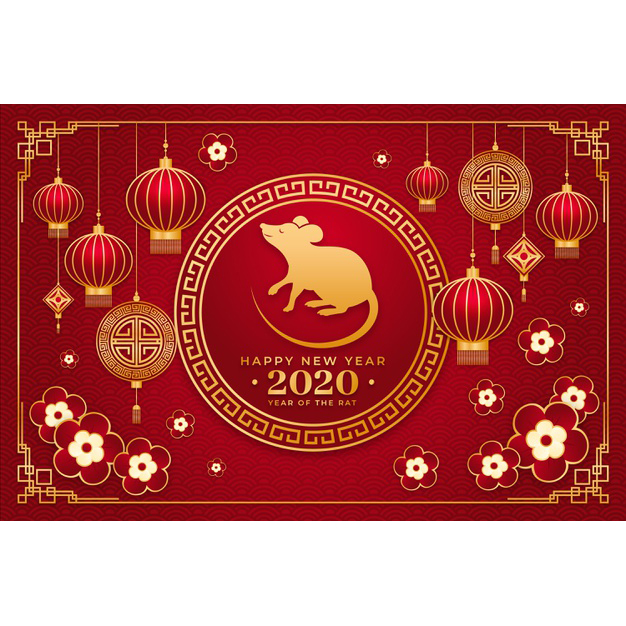 Happy chinese New year Golden chinese new year concept Free Vector