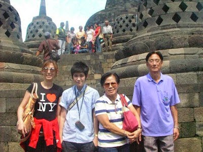 Tina Jittaleela and family in Candi Borobudur