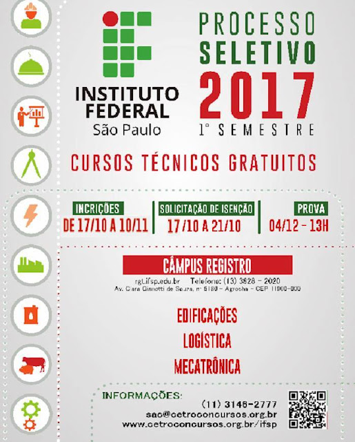 Processo Seletivo 2017 Instituto Federal Campus Registro-SP