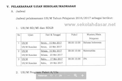 Unduh POS Ujian Sekolah/Madrasah SD/MI Tahun 2017