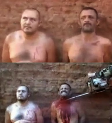"Cartel members force two men to confess to their ""crimes"" before a chainsaw is used to behead them. (Screen capture from video)"