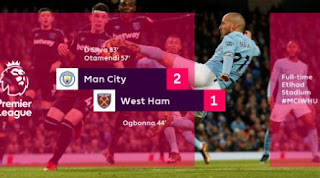Manchester City vs West Ham United 2-1 Highlights
