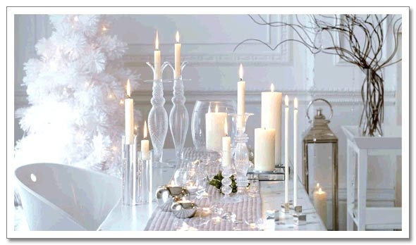 White christmas tree modern decorating wreath table - Modern christmas table settings ideas ...