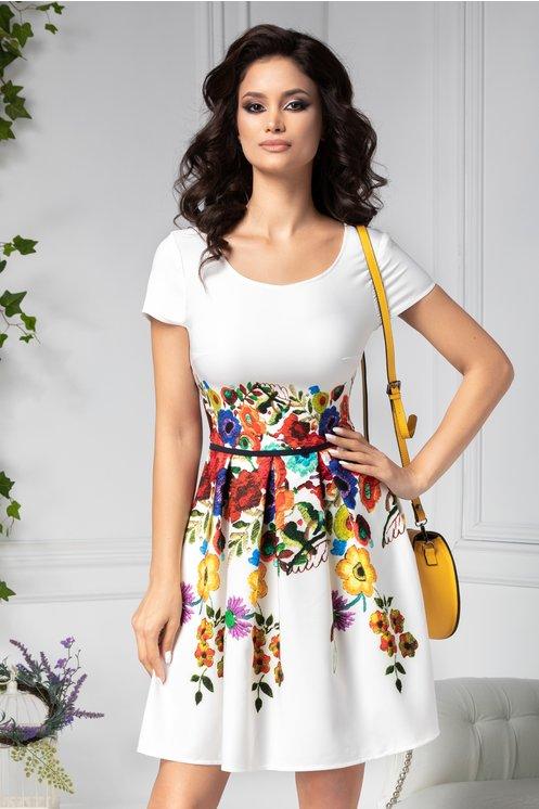 Rochie pentru birou clos alba cu imprimeu floral colorat