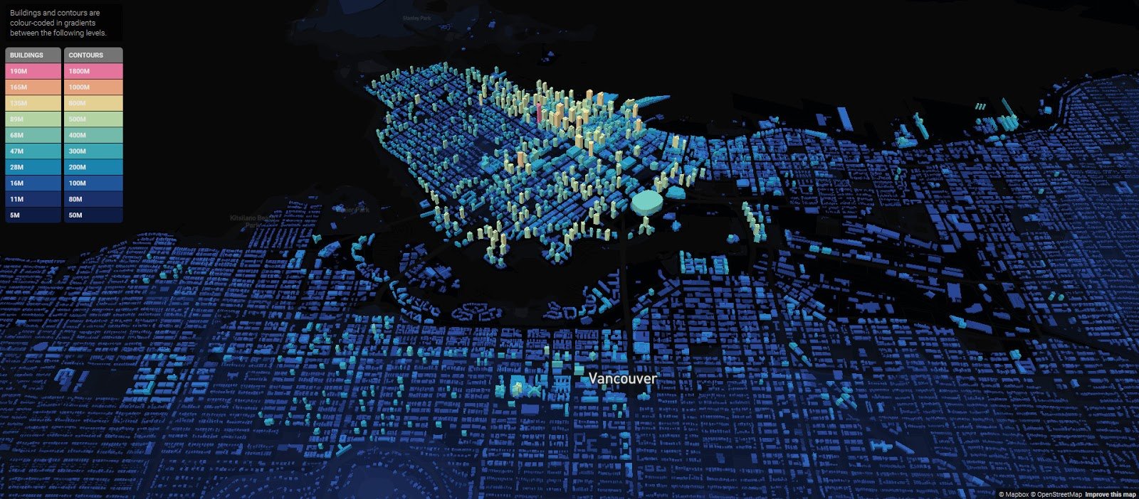 Vancouver Building Heights Map