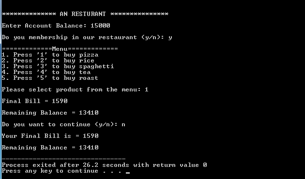 Online Restaurant Management System Project in C++