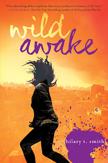 Book cover of 'Wild Awake' by Hilary T. Smith, orange background with hints of yellow and purple with person whipping long hair in foreground.