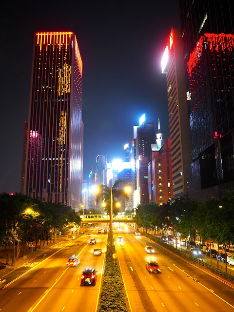 Queen's Road and Wan Chai skyscrapers on hong Kong Island