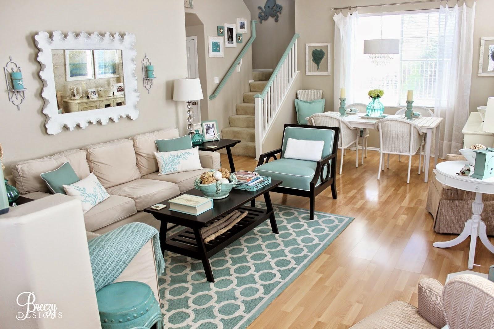 Un hogar en azul turquesa cocochicdeco - Decoracion salon blanco ...