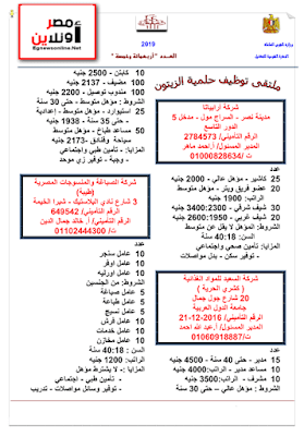 تقرير بجميع وظائف وزارة القوى العاملة كاملة لشهر مارس 2019