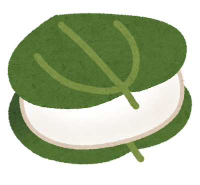 柏餅のイラスト(サルトリイバラ)